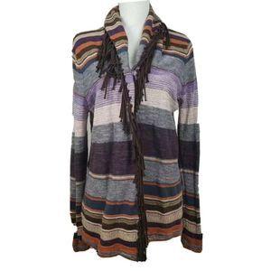 Ralph Lauren Cardigan Sweater Multicolor Fringe XL